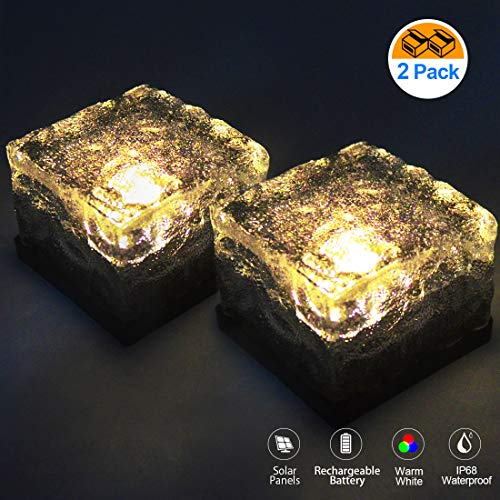 (LETOUR Solar LED Landscape Lights, Outdoor RGB Brick Lights, Waterproof Path Light, Solar Panel & Rechargeable Battery Include, Square Cube Rock Lights for Garden Courtyard Pathway 2 Pack)
