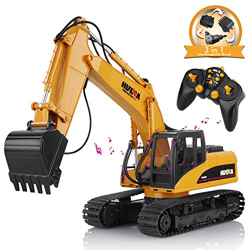 (AOKESI UPGRATED 3 in 1 Heads Remote Control Excavator Toy 16 Channel and 2.4G Excavator Toy 1:14 Scale Drill Excavator Vehicle with Extra Claw & Shovel Head Construction Vehicle Toys for Boys)