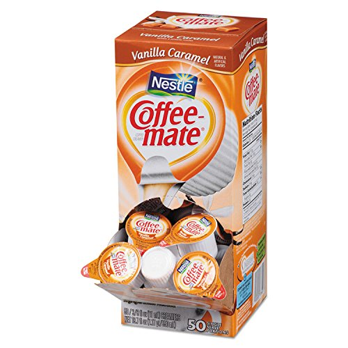 NESTLE COFFEE-MATE Coffee Creamer, Vanilla Caramel, liquid creamer singles, 50 Count (Pack of 1)