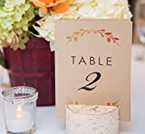 Folded Fall Themed Table Numbers - Kraft Rustic Wedding Table Numbers - 4x6 Stand On Their Own - Table Number Holder NOT INCLUDED