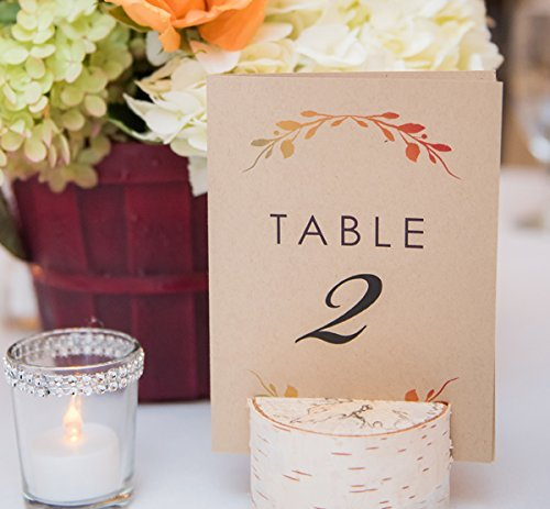Folded Fall Themed Table Numbers - Kraft Rustic Wedding Table Numbers - 4x6 Stand On Their Own - Table Number Holder NOT INCLUDED by Side Street Designs