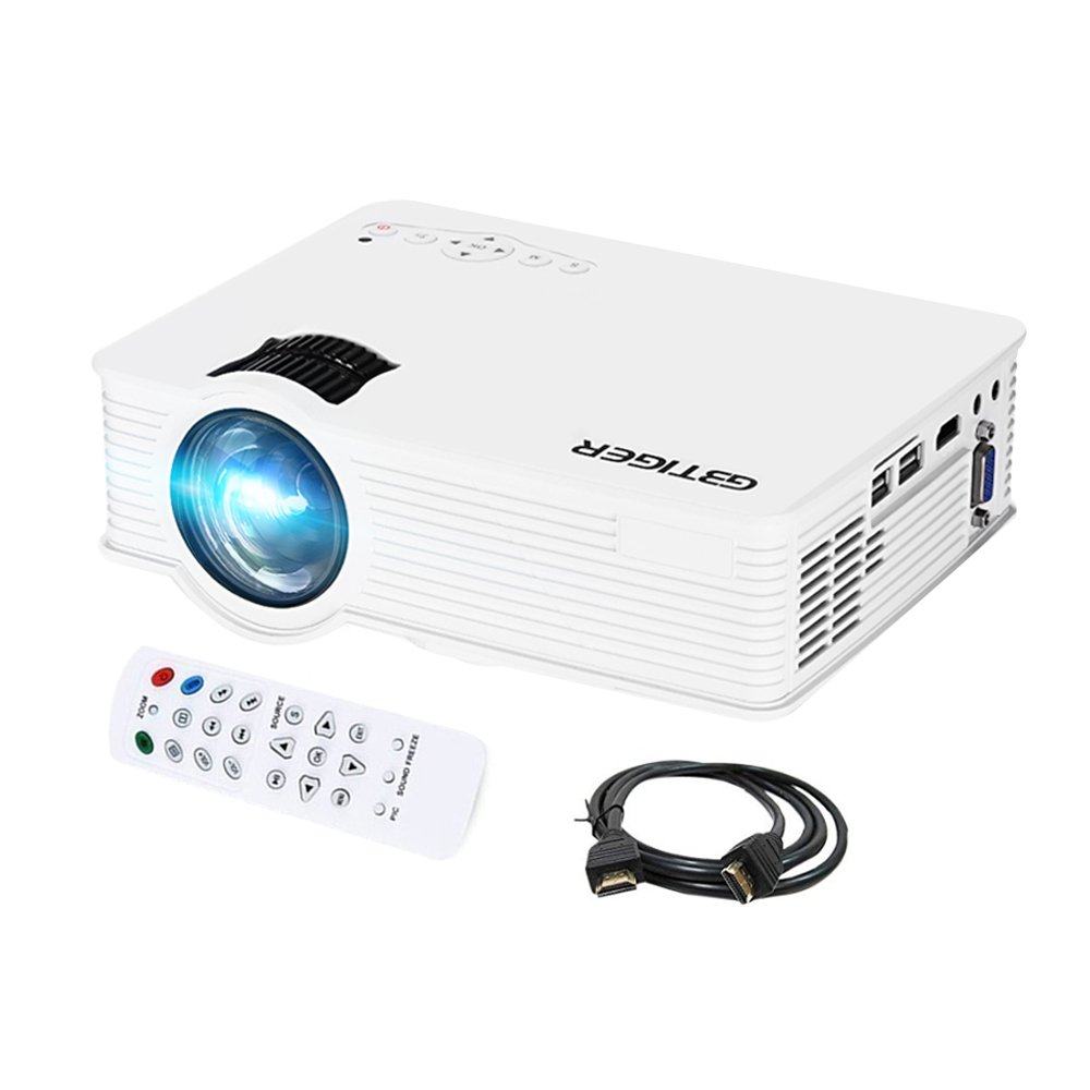 GBTIGER 2200 Lumens Full HD 1080P Portable Mini Projector 1920 x 1080 Pixels 20000Hours Lens Life times LCD LED Projector Home Theater, AV/HDMI/VGA/USB (White) by GBTIGER