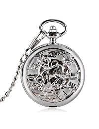 Skeleton Dragon Design Pocket Watch for Men, Chinese Style Mechanical Hand Wind Pocket Watch Gift