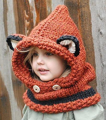 WishCart boys and girls knitted wool hat scarf set fox ears cowl warm wool caps