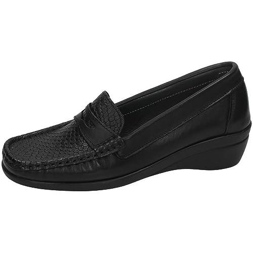 Flexibles Horas Mocasines Zapatos 48 52160401 Mujer Mocasín Negro 3ALqS4Rc5j
