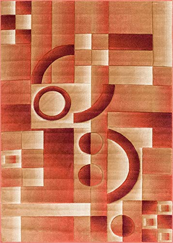 Well Woven Primo Shapes Orange Modern Geometric Boxes Lines Hand Carved Modern Area Rug 8 x 10 (7'10