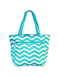 World Traveler 13.5 Inch Beach Bag, Blue White Chevron, One Size