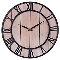 SkyNature Decorative Wall Clock, 18 Inch Vintage Clock with Large Roman Numerals, Indoor Silent Non-Ticking Battery Operated Metal & Wooden Clock for Living Room, Bedroom, Kitchen, Den - Black