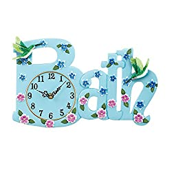Collections Etc Hummingbird Bath Light Blue Floral Decorative Wall Clock