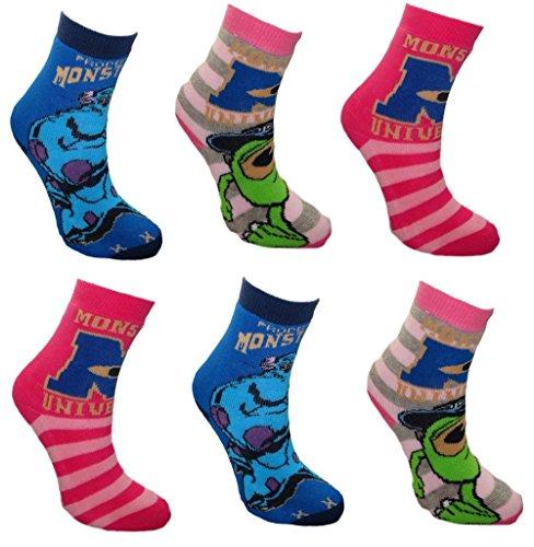 Disney Monsters University Little Girl 6 pack Non Skid Slipper Socks UK 10-13