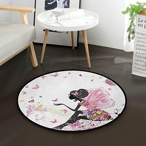 ALAZA Flower Butterfly Girl Round Area Rug for Living Room Bedroom 3' Diameter(92 cm)