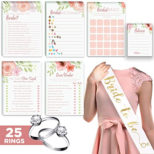 (Floral Bridal Shower Games - Set of 6 (50 Cards Each) w/ Bride to Be Sash & 25 Adjustable Silver Diamond Engagement Rings - Luxury Pre-Wedding Party Favor)