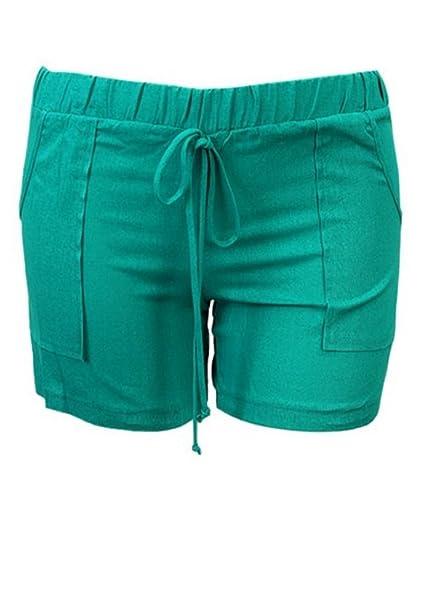 2d3fddc9b17 curvyluv.com Sale Women s Plus Size Linen Shorts w Front Pockets Elastic  Tie Waist at Amazon Women s Clothing store