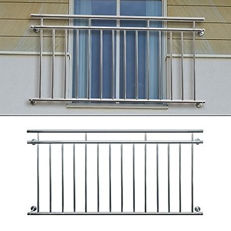 Französischer Balkon LYON Edelstahl 156 x 90cm Geländer Stabgeländer Gebürstet