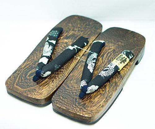 [japón Hizo] Hombres Geta Paulownia Sandalias De Madera Calzado Tradicional (28cm, Diseño Del Dragón) Diseño Del Dragón