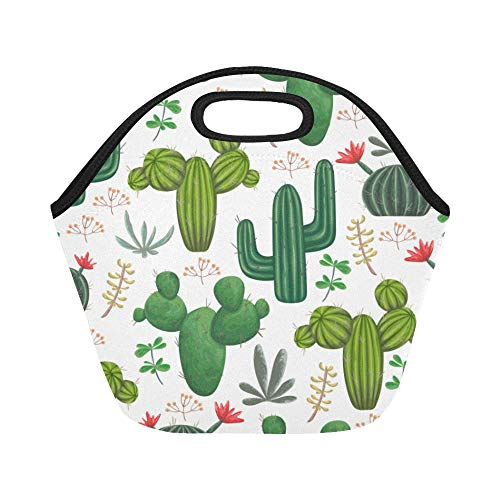 Insulated Neoprene Lunch Bag Seamless Pattern With Cacti Succulents And Flora Large Size Reusable Thermal Thick Lunch Tote Bags For Lunch Boxes For Outdoors,work, Office, School