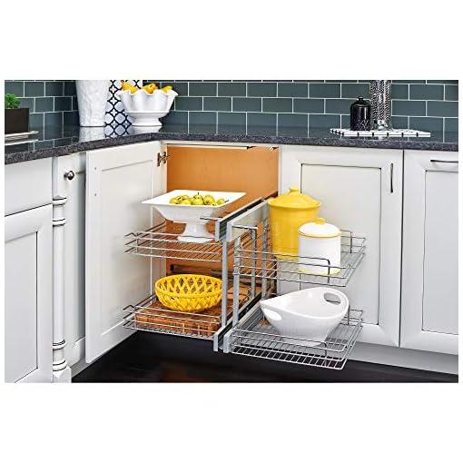 Kitchen Rev-A-Shelf 5PSP-15SC-CR-6 15-Inch Chrome Soft Close Blind Corner 4 Shelf Slide Out Kitchen Cabinet Organizer, Silver pull-out organizers