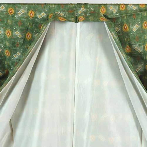 リサイクル紬 / 正絹グリーン地袷紬着物未着用品 / レディース【裄Lサイズ】(古着 リサイクル着物 リサイクル品)【ランクS】