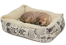 OxGord Pet Bed for Cat and Dog Crate Pad - Deluxe Premium Bedding with Cozy Inner Cushion- 2016 Newly Designed Model - 1800\'s Newspaper Design