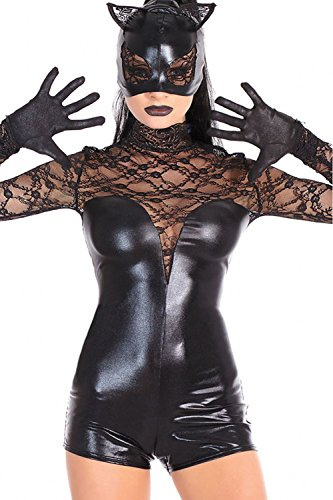 Disney Halloween Skeleton Dance (LOBiI78lu Women's Black Lace Cat Cosplay Costume)