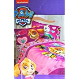 Paw Patrol Twin Sized 4 Piece Pink Bedding Set - Comforter and Sheet Set