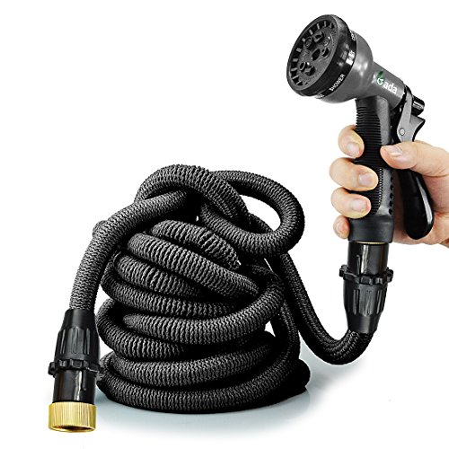 """50ft Expandable Garden Hose,Heavy Duty Flexible Hose Pipe with 8-Way Spry Nozzle,3/4"""" Patent Leak-Proof Connector Pocket Water Hose (Black)"""