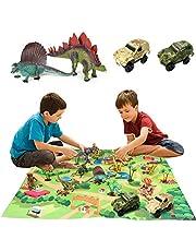 Yeelan Dinosaurus Speelgoed Figuren Stel met Speel Mat & Auto's, Dino Wereld Draak Speelset met Tapijt Playmat Leerzaam Speelgoed voor Kinderen