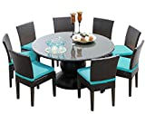TK Classics Napa 60'' Outdoor Patio Dining Table with 8 Armless Chairs, Aruba