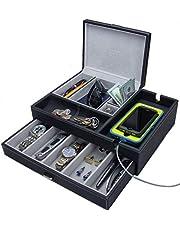 HOUNDSBAY Admiral Big Dresser Valet Box & Mens Jewelry Box Organizer with Large Smartphone Charging Station