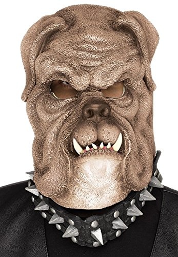 Fun World Men's Snarling Brown Bull Dog Halloween Mask Accessory, Multi -