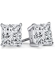 ecc7d8a68 0.10 Carat (ctw) 14K White Gold Princess Cut White Diamond Ladies Stud  Earrings