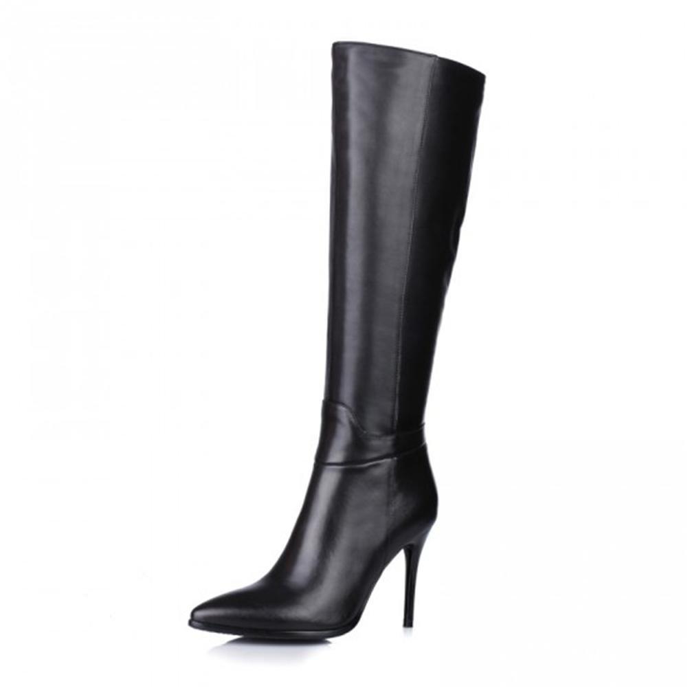 HN Shoes Mujeres Rodilla Alto Botas Auténtico Cuero Negro Puntiagudo Dedo del pie Estilete Alto Tacón Otoño Invierno Lado Cremallera, Black, EUR 39/UK 6-6.5 EUR 39/ UK 6-6.5|Black