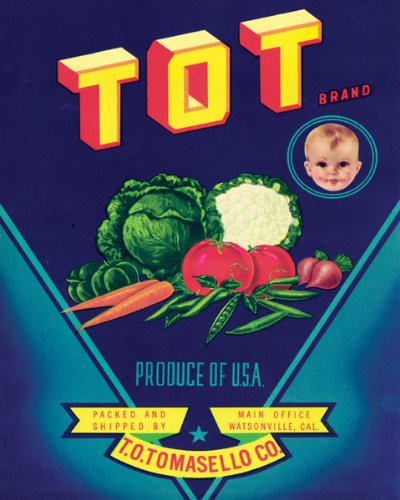 - TOT BOY CHILD VEGETABLES PRODUCE USA WATSONVILLE CALIFORNIA CRATE LABEL REPRO