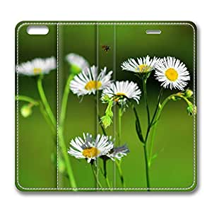 iPhone 6 Leather Case, Personalized Protective Flip Case Cover White Florwers And A Black Bee for New iPhone 6