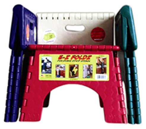 B&R Plastics 101-6FA E-Z Foldz Folding Step Stool - 9'' Assorted Fashion Colors, 6-Pack