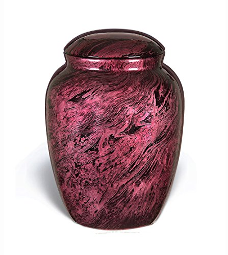 (Liveurns Fiber Glass Cremation Urn - Adult Urn - Handcrafted Light weighed Adult Funeral Urn for Ashes - Great Deal Free Velvet Bag and Ash Bag (Pink Rose))