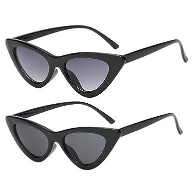 Sharplace Eye Cat Sunglasses Lunettes De Soleil Lentille Coloré Vintage Plastique Plage Voyage - Noir, Taille unique