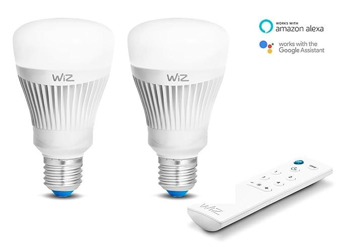2-Pack bombillas LED WiZ inteligente con conexión WiFi , luz blanca y de colores