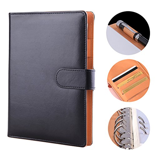 Premium Leather Notebook Writing Journal Hard Cover Refillable NoteBooks Loose Leaf Diary Notepad A5 with Pen Loop & Business Card Holder for Women Men Office Travel, 8×6
