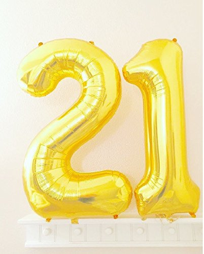 C-Spin 16 INCH 21 Gold Number Foil Balloon 16