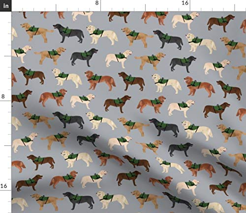 Spoonflower Labrador Fabric - Service Dog Fabric Dogs Design Labradors Golden Retriever Pet Portrait Gift Print on Fabric by The Yard - Petal Signature Cotton for Sewing Quilting Apparel Crafts Decor