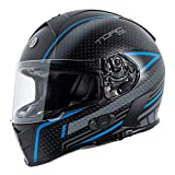 TORC Unisex-Adult T14B Blinc Loaded Mako Full Face Motorcycle Helmet (Flat Black with Scramble Blue Graphic, Medium)