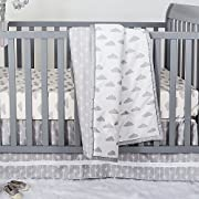 Grey and White Cloud Print 3 Piece Baby Crib Bedding Set by The Peanut Shell