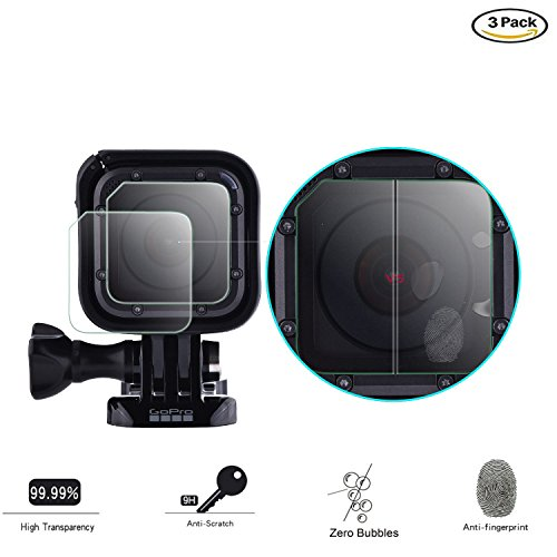Screen Protector for GoPro Hero 5 Hero 4 Session Tempered Glass Ultra Thin with Lens Cap Cover, TaichiAqua 3 pcs Action Camera Accessories