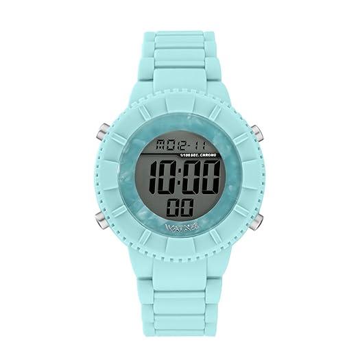 Reloj digital para mujeres de WatxandCo. Con correa de silicona verde claro. Esfera digital con bisel en acetado verde claro y detalles en plateado.43mm: ...