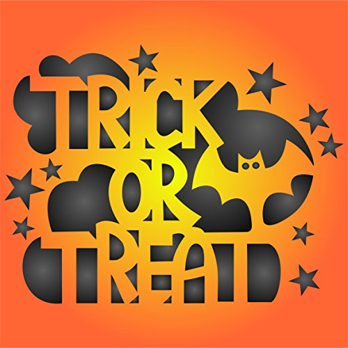 "Halloween Trick or Treat Stencil - (size 6.5""w x 5""h) Reusable HALLOWEEN Wall Stencils for Painting Posters Labels Words Quotes - Use on Walls, Floors, Fabrics, Glass, Wood, and More…"