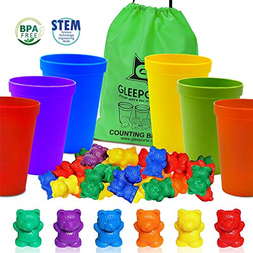 Gleeporte Colorful Counting Bears with Coordinated Sorting Cups | Montessori Sorting, and Counting Toy | Educational for Toddlers and Children (67 Pcs Set) | 60 Bears | 6 Cups | Storage Bag