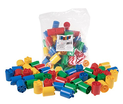 Premium Blue, Green, Red, and Yellow Round Cylinder 2x2 Stackers Support Building Bricks - 48 Pack Bundle - Compatible with All Major Large Size Brands - Large Pegs Only