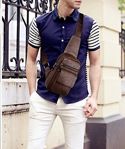 Leisure Travel Beige Bag purpose Business Messenger Shoulder Multi Laidaye Men's Backpack Package Chest qIwB44