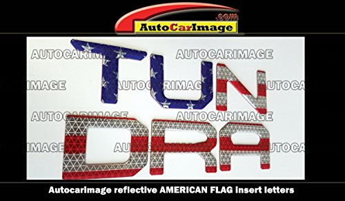 TOYOTA TUNDRA 2014 2015 2016 2017 REFLECTIVE AMERICAN FLAG TAILGATE RAISED LETTERS